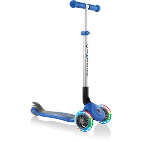 Globber Primo Foldable Lights Trottinette avec roues LED sans batterie Enfant, navy blue